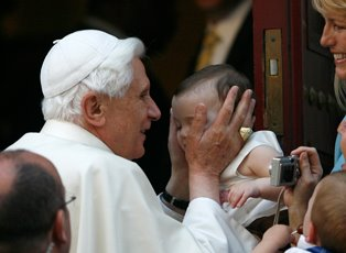 Pope Benedict with Baby